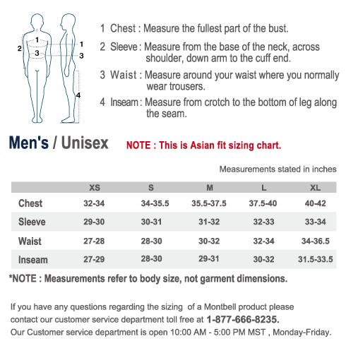 Sizing chart asian fit men s unisex montbell america